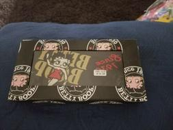 Betty Boop Wallet Stitched Black King Features Snaps Credit