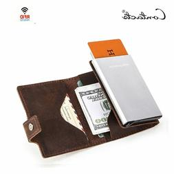 CONTACT'S Crazy Horse Leather Men Wallet RFID Blocking Credi