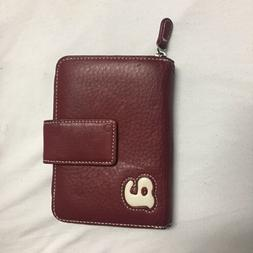Wilson Leather Red Wallet With Initial A Credit Card Holder