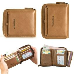 Men's Leather Bifold Credit ID Card Holder Wallet Zipper Coi