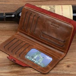 Mens Leather Wallet Long Credit Card Holder Bifold Purse Clu
