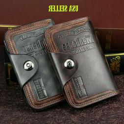 Mens Men's S4 Retro Leather Vertical Section Credit Card Hol