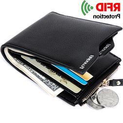RFID PU Leather Men Zipper Wallet Casual Male Short Coin Pur